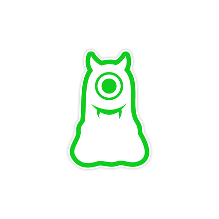 cyclops: sticker cyclops monster with horns on a white background Illustration