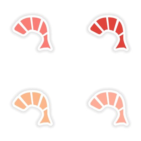 fried shrimp: assembly realistic sticker design on paper tempura shrimp Illustration