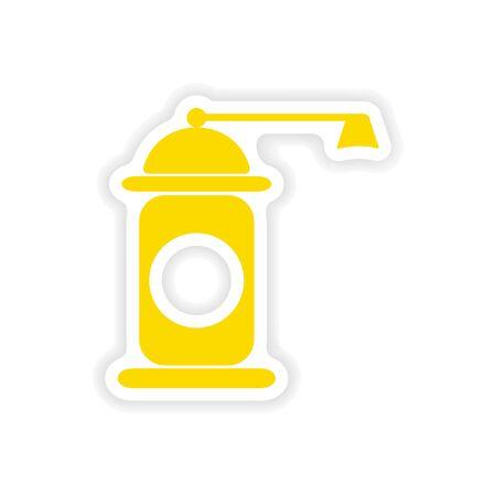 pepper mill: icon sticker realistic design on paper pepper mill