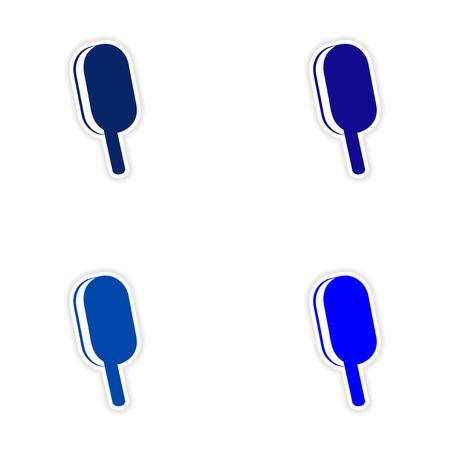 helados con palito: assembly realistic sticker design on paper ice cream stick Vectores