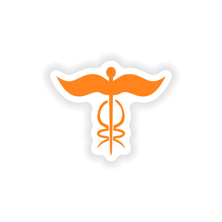 medical emblem: icon sticker realistic design on paper medical emblem