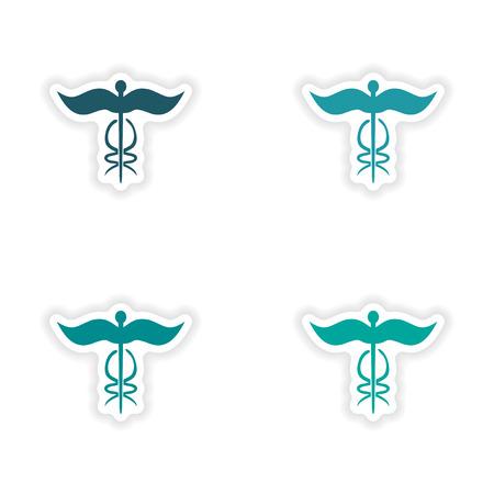 medical emblem: assembly realistic sticker design on paper medical emblem