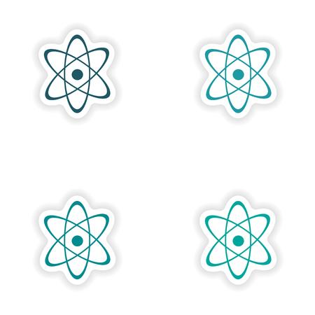 assembly: assembly realistic sticker design on paper atom Illustration