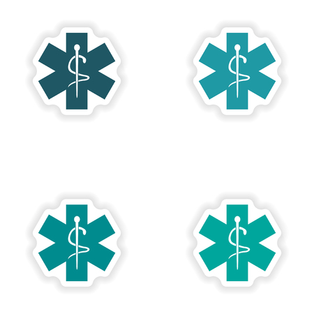 ems: assembly realistic sticker design on paper medical emblem