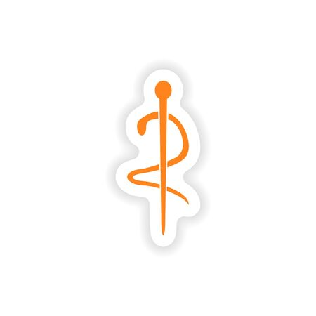 caduceus snake with stick: icon sticker realistic design on paper medical emblem