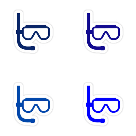 paper mask: assembly realistic sticker design on paper scuba diving mask Illustration
