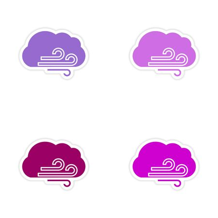 stormcloud: assembly realistic sticker design on paper cloud wind Illustration