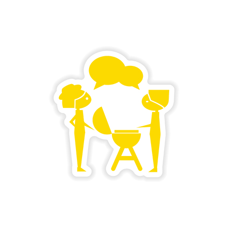 icon sticker realistic design on paper barbecue party