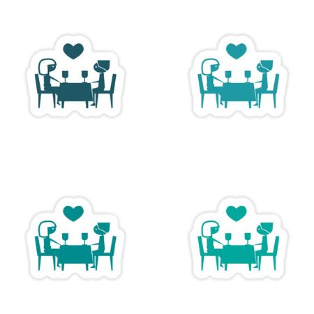 dinner date: assembly realistic sticker design on paper romantic date Illustration