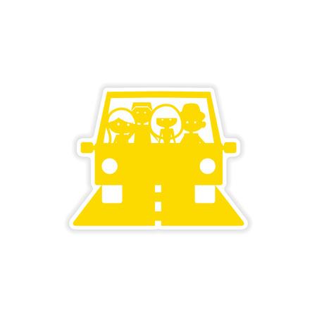 female driver: icon sticker realistic design on paper Friend car
