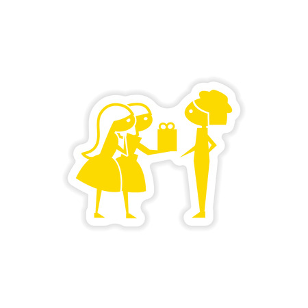 exchanging: icon sticker realistic design on paper Friend gift