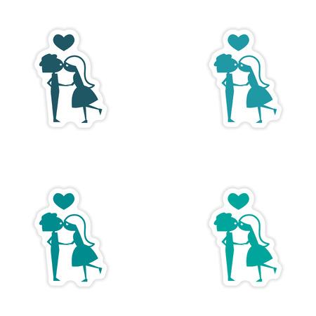 girls kissing: assembly realistic sticker design on paper Girl kisses boy
