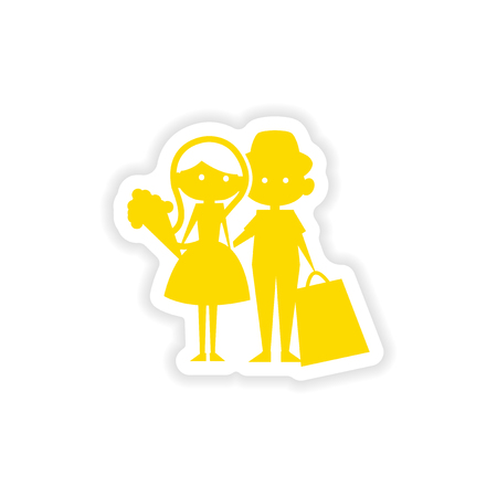 boy girl: icon sticker realistic design on paper boy girl flowers Illustration