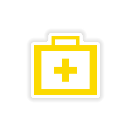 medicine chest: icon sticker realistic design on paper medicine chest