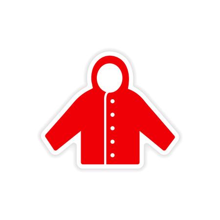 raincoat: icon sticker realistic design on paper raincoat