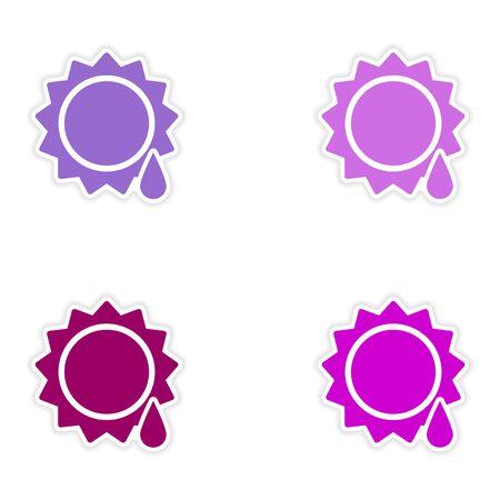 sun drop: assembly realistic sticker design on paper sun drop