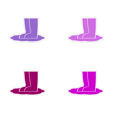 welly: assembly realistic sticker design on paper rubber boots