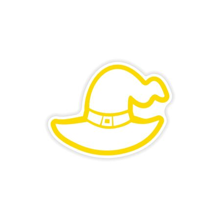 pointy hat: icon sticker realistic design on paper Witchs hat Illustration