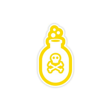 poison bottle: icon sticker realistic design on paper poison bottle