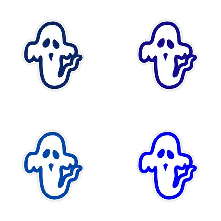 restless: assembly sticker ghost color on a white background Illustration