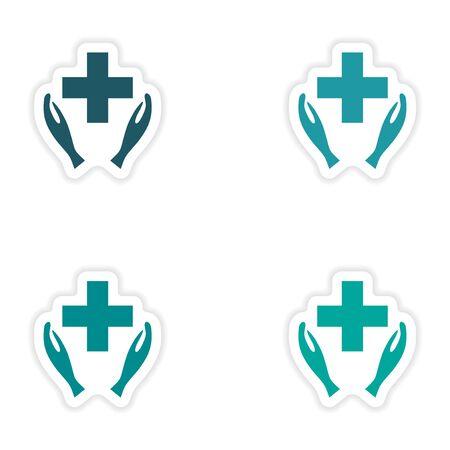 logo medicina: assembly realistic sticker design on paper logo medicine