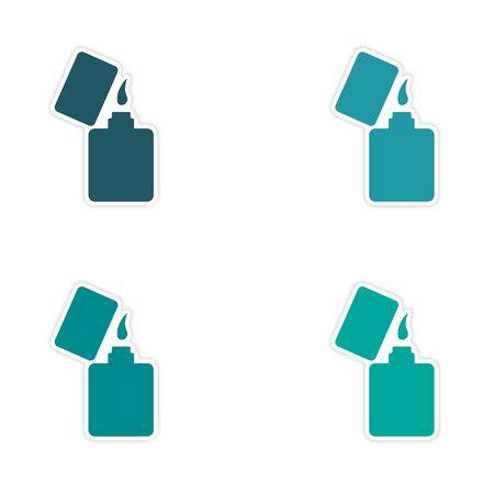 ljusare: assembly realistic sticker design on paper lighter