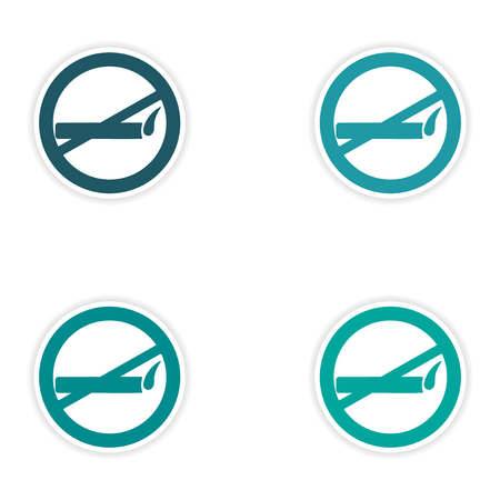 allowed: assembly realistic sticker design on paper smoking allowed Illustration