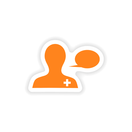 physiotherapist: icon sticker realistic design on paper medical Advice