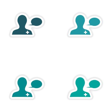 consulta m�dica: dise�o de etiqueta montaje realista en la consulta m�dica de papel