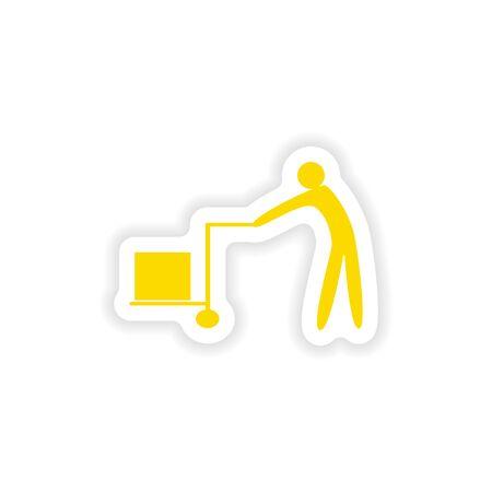 mover: icon sticker realistic design on paper mover Illustration
