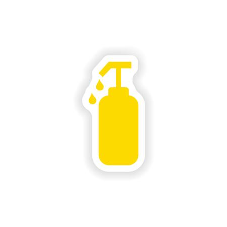 liquid soap: icon sticker realistic design on paper liquid soap Illustration