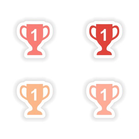 real trophy: assembly realistic sticker design on paper cup winner