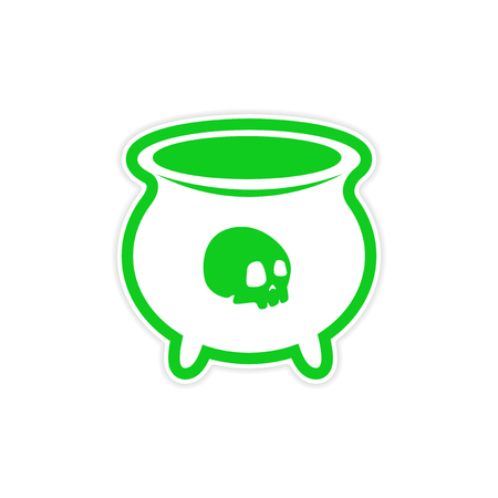 horrific: sticker witches cauldron with a skull on white background