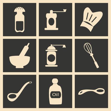 black appliances: Flat in black and white concept mobile application kitchen appliances Illustration
