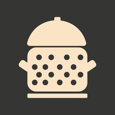saucepan: Flat in black and white mobile application saucepan