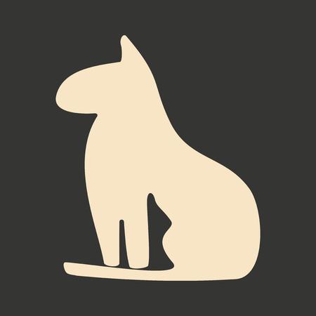 cat goddess: Flat in black and white mobile application Egypt cat