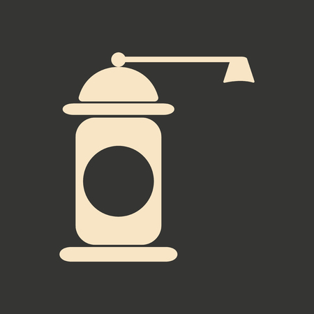 pepper mill: Flat in black and white mobile application pepper mill
