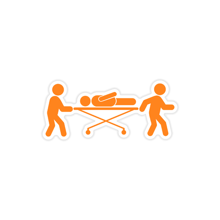 paciente en camilla: etiqueta engomada de papel del paciente en el fondo blanco camilla
