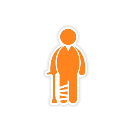 axillary: paper sticker man with broken leg on white background Illustration
