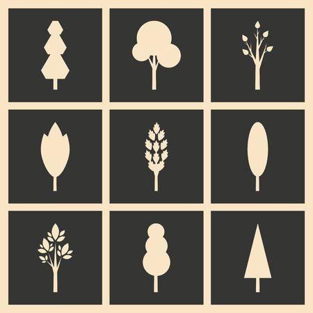 arbol roble: Piso en concepto de blanco y negro de aplicaciones móviles silueta de los árboles