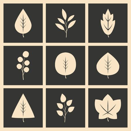 nature silhouette: Flat in black and white concept mobile application leaves