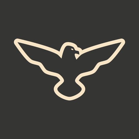 swooping: Flat in black and white mobile application eagle Illustration