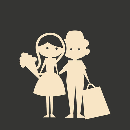 romantic date: Flat in black and white mobile application romantic date Illustration