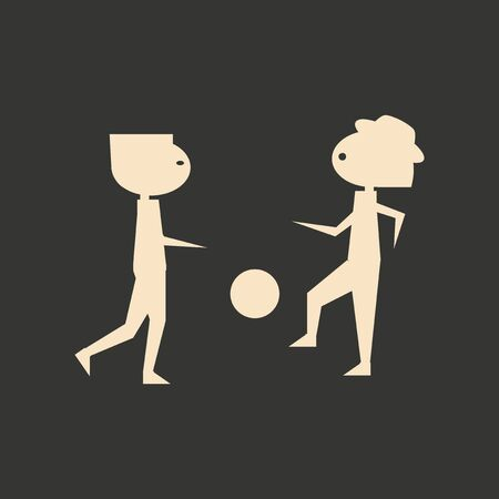 friends having fun: Flat in black and white mobile application friends football Illustration