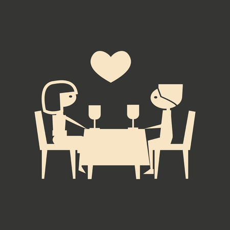 romantic couple: Flat in black and white mobile application romantic dinner