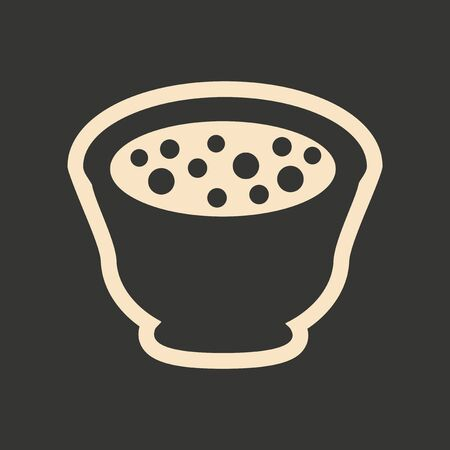 chineese: Flat in black and white mobile application miso soup