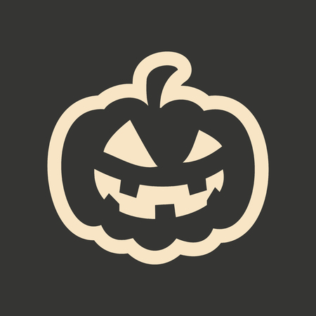 carving: Flat in black and white mobile application pumpkin Illustration