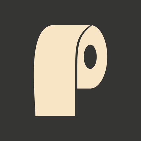 toilet roll: Flat in black and white mobile application toilet roll