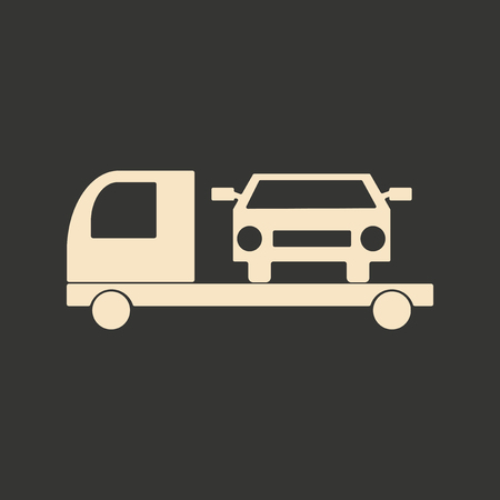 tow car: Flat in black and white mobile application tow car