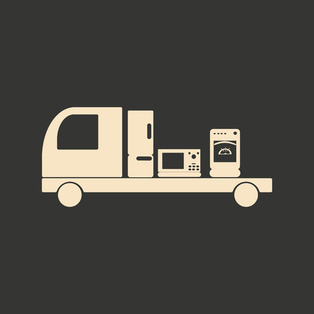 black appliances: Flat in black and white mobile application delivery of household appliances Illustration